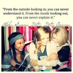 """From the outside looking in, you can never understand it. From the inside looking out, you can never explain it."" - Unknown #agd #sisterhood"