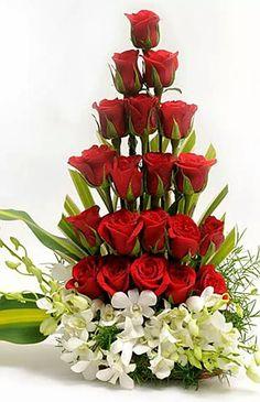 Valentine Flower Arrangements 24 – Valentine's Day Valentine's Day Flower Arrangements, Rosen Arrangements, Altar Flowers, Church Flowers, Funeral Flowers, Unique Flowers, Fresh Flowers, Spring Flowers, Silk Flowers