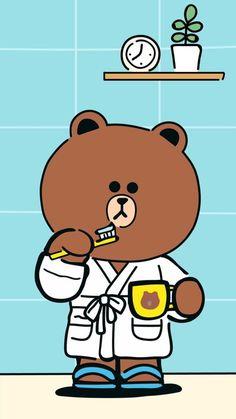 Lines Wallpaper, Bear Wallpaper, Cartoon Wallpaper, Line Brown Bear, Greeting Words, Drawing Cartoon Faces, Cony Brown, Chibi Cat, Kawaii Doodles