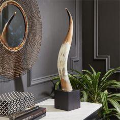Yak Horn on Black Wood Base design by Tozai