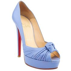 Pre-owned Christian Louboutin Jenny Knotted Purple Leather Pumps ($280) ❤ liked on Polyvore featuring shoes, pumps, peep-toe pumps, purple shoes, peep toe platform pumps, purple pumps and platform shoes