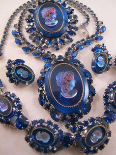 Juliana Blue Glass Rhinestone Cameo Parure Set Necklace Earrings Bracelet Pin | eBay