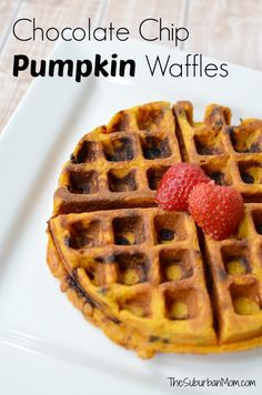 Yum! Chocolate Chip Pumpkin Waffles from scratch. Easy and perfect for fall!! Make a big batch and freeze them to eat all week.