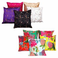 Buy Combo Of 10 Halowishes Floral Work Cotton Cushion Cover Set