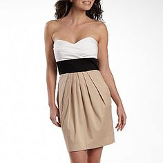 Strapless Colorblock Dress with Pockets