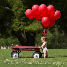 Baby Red Wagon, Radio Flyer, red balloons