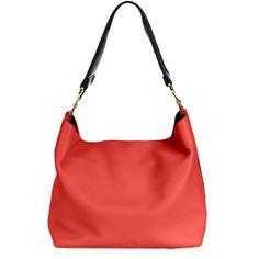 Marni Twist Small Hobo Bag w/Guitar Strap (¥258,685) ❤ liked on Polyvore featuring bags, handbags, shoulder bags, red, hobo shoulder bag, leather hobo shoulder bag, red leather shoulder bag, red shoulder bag and leather hobo handbags