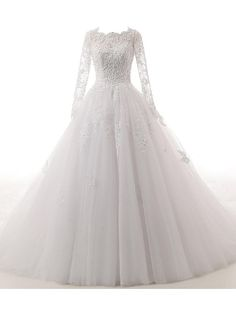 A-line Wedding Dress-Ivory Cathedral Train Jewel Lace / Tulle - USD $189.99