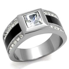 Men's 2CT Russian lab Diamond Stainless Steel Wedding Band Ring