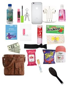 """""""What I keep in my purse"""" by kimberly14kimberly ❤ liked on Polyvore featuring Mix No. 6, Glam Bands, Audiology, PhunkeeTree, Maybelline, Yes To and GHD"""