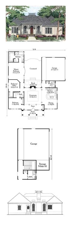 House Plan 72096 - European, Greek Revival Style House Plan with 3143 Sq Ft, 5 Bed, 5 Bath, 3 Car Garage Colonial House Plans, New House Plans, Dream House Plans, House Floor Plans, Colonial Cottage, The Plan, How To Plan, Br House, Sims House