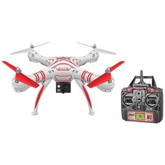 World Tech Elite 33745 4.5-Channel Wraith Spy Drone with 1080p HD Camera. 1080p HD camera records video;  4.5-channel built-in gyro;  2.4GHz transmitter;  4 main rotors;  Multidimensional flight capability;  Flip stunt mode;  Return function;  Speed control;  Includes 2.4GHz transmitter, memory card, USB SD(TM) Card reader, 3.7V 850mAh Li-Poly rechargeable battery, wall charger, HD camera, spare rotor blades, rotor guards, landing skids, tools & instruction manual;World Tech Elite 33745…