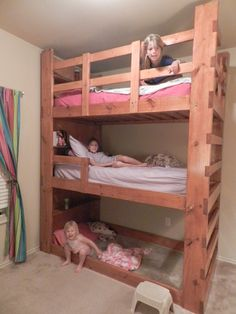 Triple bunk bed (with built-in shelves for each bed) Triple Bunk Beds, Bunk Beds Built In, Kids Bunk Beds, Tiny Spaces, Loft Spaces, Built In Shelves, Built Ins, Girls Bedroom, Bedroom Decor