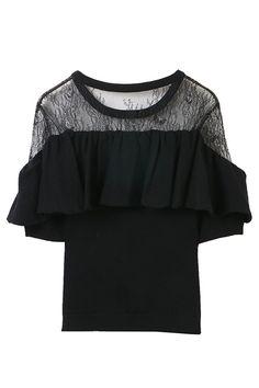 【予約販売】レース×フロントフリル切替ニット トランテアン ソン ドゥ モード/31 Sons de mode Bell Sleeves, Bell Sleeve Top, Sweater Fashion, Crop Tops, Knitting, Sweaters, T Shirt, Women, Style