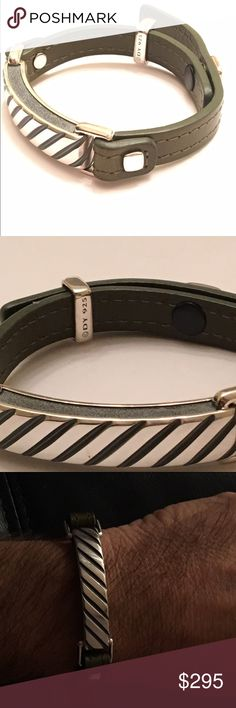 Men's Yurman Single Wrap Modern Leather bracelet David Yurman dark olive green leather and Sterling bracelet.  Snap closure marked DY, and marked 925 on the inside.   Brand new, unworn and completely authentic. David Yurman Accessories Jewelry