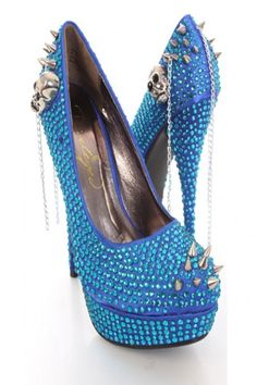 Blue Fabric Faceted Beaded Spike Studded Platform Heels
