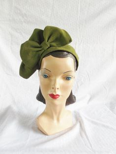 1940's Vintage Green Half Hat with Huge Bows by MyVintageHatShop, $75.00
