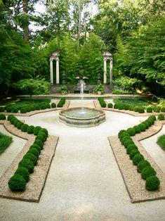 Boxwood garden at Atlanta Swan house via Atlanta History Center