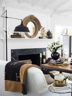 Gorgeous palette! White + black + camel. Garrow Kedigian - Hermès Avalon blanket