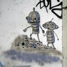 Beogradski grafiti.: Emotivni roboti / Ink / BIGZ #Beograd #Belgrade #Graffiti #Grafiti #StreetArt
