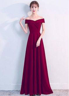 Elegant Off-the-Shoulder Long Evening Gowns Online Women's Prom Party Dresses - Evening Dresses A Line Evening Dress, Long Evening Gowns, A Line Prom Dresses, Prom Party Dresses, Ball Dresses, Occasion Dresses, Homecoming Dresses, Strapless Dress Formal, Ball Gowns