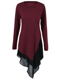 Plus Size Chiffon Trim Asymmetrical Tee Dress - Wine Red Spring Asymmetrical Vestidos Plus Size, Asymmetrical Tops, Sammy Dress, Tee Dress, Bodycon Dress, Plus Size Dresses, Blouses For Women, Ideias Fashion, Chiffon Blouses