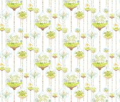 Watercolor Terrariums fabric by vinpauld on Spoonflower - custom fabric