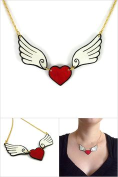 Red heart with 2 white and black wings necklace, winged heart necklace, painted plastic fancy necklace (recycled CD), Valentines day gift - Made  on order with recycled CD by @savousepate on Etsy