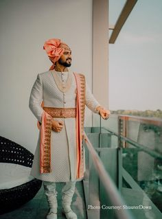 Looking for off white sherwani with peach stole and waistbelt? Browse of latest bridal photos, lehenga & jewelry designs, decor ideas, etc. Groom Wear, Groom Outfit, Groom Dress, Men Dress, Groom Attire, Wedding Dress Men, Wedding Suits, Wedding Groom, Saree Wedding