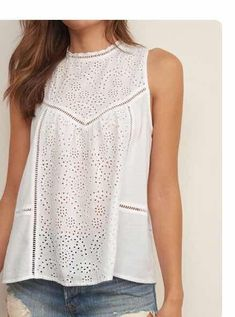 Detailed with scalloped neckline and airy eyelet lace, featuring illusion details, asymmetrical hem and slit at back. Casual Outfits, Cute Outfits, Fashion Outfits, Romantic Outfit, Short Tops, Lace Tops, Blouse Designs, Spring Outfits, Fashion Looks