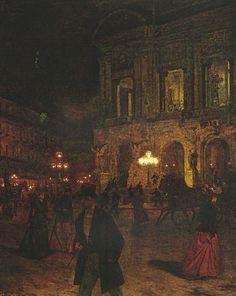 """Opera Paris by Night"" 1891 - Aleksander Gierymski Rennaissance Art, London Painting, Chef D Oeuvre, Historical Art, Dark Photography, Classical Art, Nocturne, Old Art, Aesthetic Art"