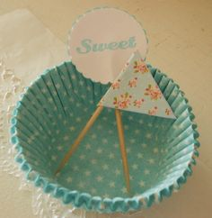 Aqua Cupcake kit star polka dot baking cups liners with sweet and shabby roses picks toppers ECS. $5.25, via Etsy.