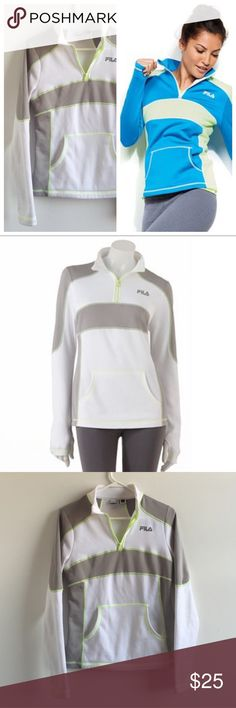 FILA • Women's Andromeda Fleece Lined Zip Pullover Women's XS fleece pullover from FILA. Adorable and warm! Great condition, perfect for all exercise. White, grey and green Fila Tops Sweatshirts & Hoodies