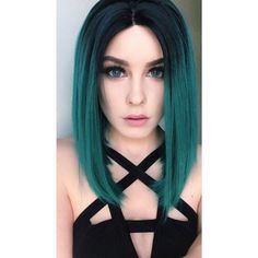 14-Heat-resistant-Lace-front-wig-Synthetic-hair-Bob-Straight-Ombre-1B-Green