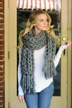 CHUNKY BRAIDS KNIT SCARF (94 inches x 13 inches)