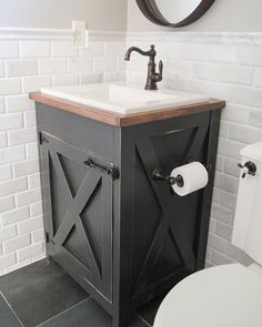 IY Farmhouse Vanity with FREE plans www.shanty-2-chic.com