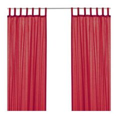 "Ikea Wilma Curtains Red by IKEA. $20.99. Contains 2 panels Product dimensions Length: 98 "" Width: 57 "" 65 % cotton, 35 % polyester"