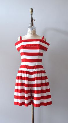 vintage romper / red and white striped / By the Sea by DearGolden, $124.00