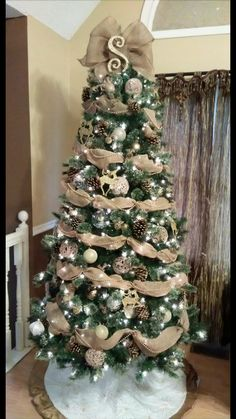 burlap christmas tree Initial and bow topper Elegant Christmas Trees, Burlap Christmas Tree, Silver Christmas Decorations, Christmas Tree Themes, Christmas Tree Toppers, Rustic Christmas, Simple Christmas, Merry Christmas, Christmas Tree Red And Silver
