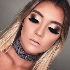 Ideas Nails Prom Champagne Make Up Glam Makeup, Eye Makeup Art, Pretty Makeup, Skin Makeup, Beauty Makeup, Beauty Skin, Cheer Makeup, Makeup Goals, Makeup Tips