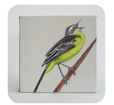 Original Painting Bird Art  8x8 painting Eastern by redtilestudio