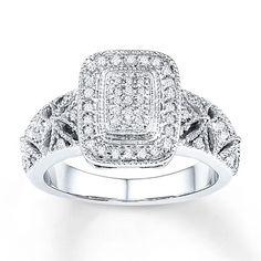 Diamond Ring 1/4 ct tw Princess/Round Sterling Silver