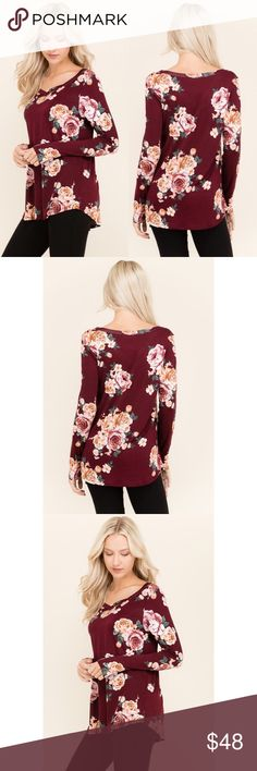 Crimson floral top This stunning floral top is a dark crimson red. Classic and cute. Perfect for every occasion of everyday wear. True to size. soft material Tops Blouses