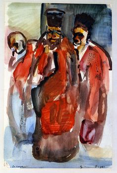 """Georges Rouault [18711958] """"The Court"""" 1908 watercolr and gouache on paper 30.48x19.69cm"""