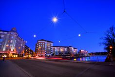 "It does look like a ""starry"" sky!  Catenary Lighting at Malmo, Sweden.  Rowan."
