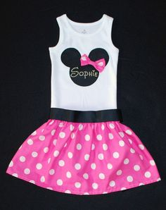 Boutique Minnie Mouse Pink Polka Dot Set Skirt and Tank Set for BIRTHDAY, Vacation, Costume Play in Hot Pink Custom Made and Personalized