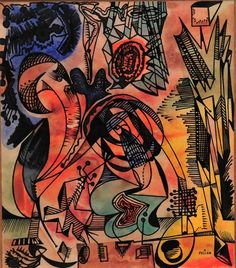 Alfred PELLAN - Dépaysement (c. 1945) Abstract Expressionism, Abstract Art, Canadian Artists, Great Artists, Sculpture, Creative, Inspiration, Illustrations, Beautiful