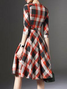 Orange Pockets 3/4 Sleeve Checkered/Plaid Midi Dress