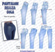 Aprende a hacer un PANTALÓN Levanta Colas - Curso de costura Pattern, Gifs, Mariana, Pleated Pants, Elegant Jumpsuit, Pants Pattern, Denim Jeans, Stitching, Blouses