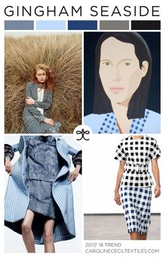 GINGHAM SEASIDE trend inspiration for 2017 / 2018 from #carolinececiltextiles | trend | color | aw17 | fashion trends | pastel | trend inspiration | textiles | mood board | pantone | serenity | pastel blue | color trend | pattern | textile trend | SS17 | SS18 | gingham | alex katz | nyfwss17 | nyfw | fashion week